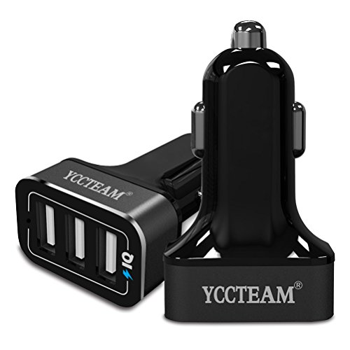 YCCTEAM 36W/7.2A Premium Aluminum 3 Port USB Car Charger Adapter Multi port USB Fast Charging 2.4 High Amps Each Port Smart IC for Apple Iphone, Ipad, Samsung, Tablet and More (Black)