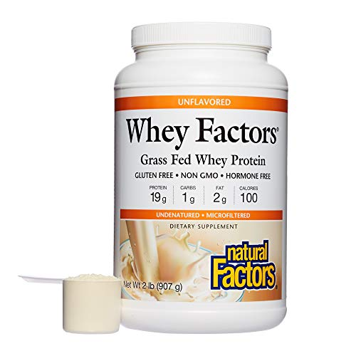 Whey Factors by Natural Factors, Grass Fed Whey Protein Concentrate, Supports Muscle Development and Immune Health, Unflavored, 2 lbs (34 Servings) (Amino Caps 2222)