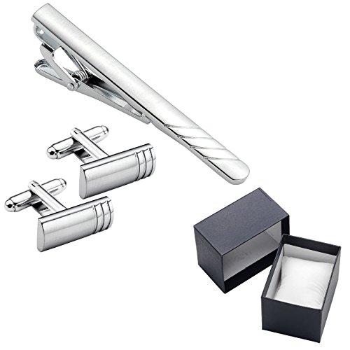 Zysta 3PCS Pince à cravate Epingles de cravate pour Homme Tie Clip Boutons de Manchette avec Boîte Argent Acier Inoxydable Cadeau