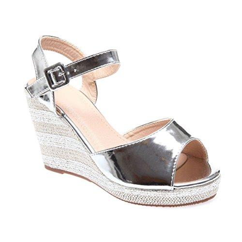 La Modeuse - Sandalias de vestir para mujer plata