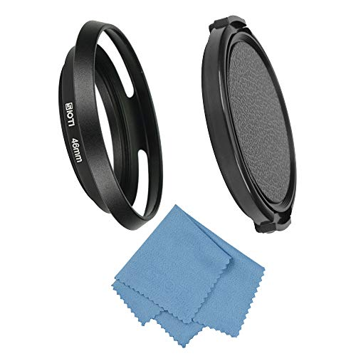 SIOTI 46mm Lens Hood Hollow Vented Metal with Cleaning Cloth and Lens Cap for Leica/Fuji/Nikon/Canon/Samsung Standard Thread Lens