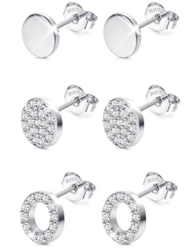 Sllaiss 925 Sterling Silver Cubic Zirconia Disc Stud Earrings Set Mini Round Circle Pave Earrings 3 Pairs Dot Circle Earrings for Women Girls Hypoallergenic Silver Tone