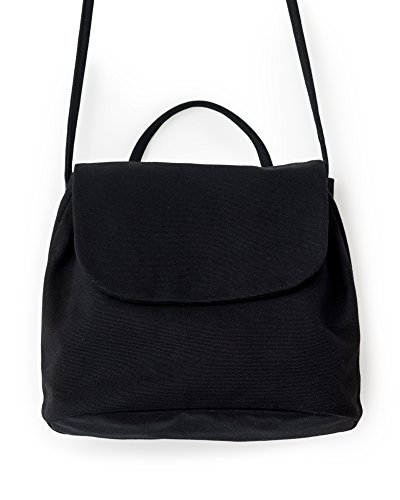 (BAGGU Canvas Shoulder Bag, Stylish and Roomy Purse for Daily Essentials, Black)
