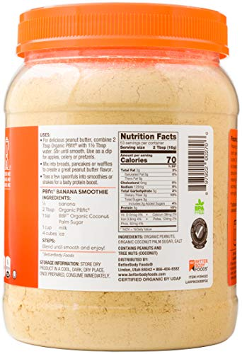 PBfit All-Natural Organic Peanut Butter Powder, Powdered Peanut Spread from Real Roasted Pressed Peanuts, 8g of Protein (30 oz.) 5