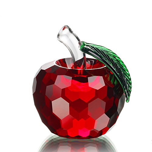 H&D 60mm (2.4 inch) Red Crystal Apple Figurines Paperweight,Glass Apple Sculpture,Christmas Apple,Art Glass Craft Gift