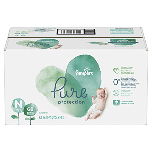 Diapers Newborn / Size 0 (<10 lb), 68 Count - Pampers Pure Disposable Baby Diapers, Hypoallergenic and Fragrance Free Protection, Newborn, SUPER
