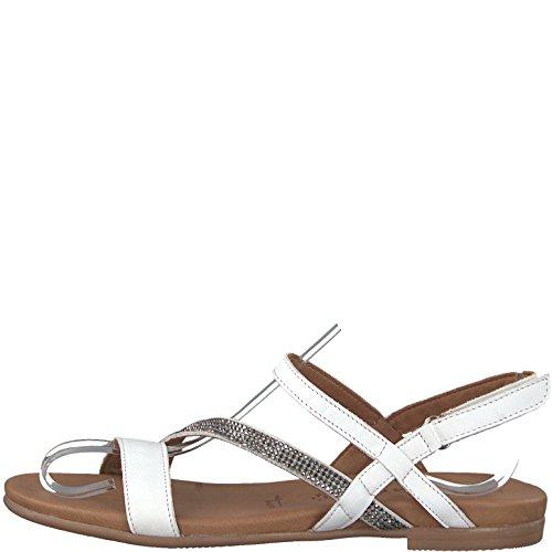 Tamaris Damen 28117 Slingback Sandalen, Weiß (White Leather), 41 EU