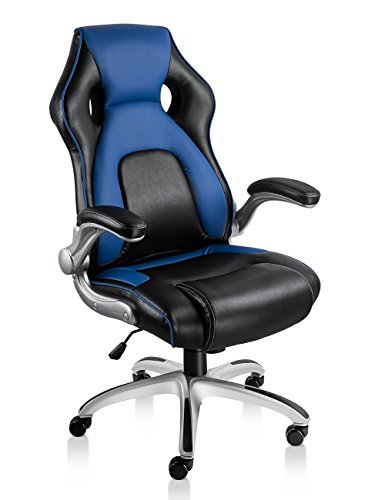 NKV High Back Gaming Chair Racing Style Office Chair Ergonomic Computer Video Game Chair Heavy Duty PC Adjustable Swivel Desk Chair Bonded Leather (Black/Blue) … NKV