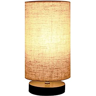 Minimalist Beside Table Lamp, Minerva Japanese Style Wood Table Lamp Beside Desk with Solid Fabric Shade for Bedroom, Living Room, College Dorm and Home Decoration - Cylinder