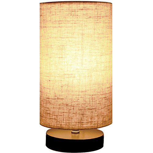 Minerva Wood Table Lamp - Solid Fabric Shade Bedside Desk Lamps for Bedroom, Living Room, Study (Cylinder) ... ()