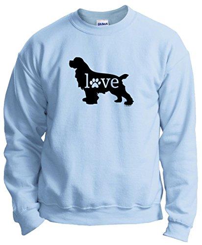 (Dog Lover Gifts Cocker Spaniel Love Dog Paw Prints Crewneck Sweatshirt Small LtBlu)