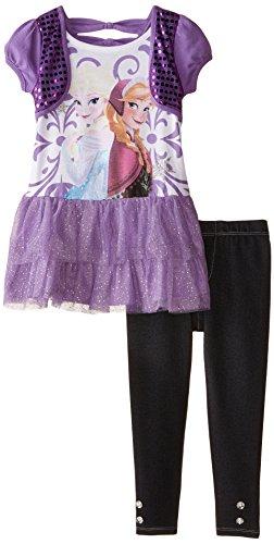 Disney Girls' Frozen 2-Piece Legging Set, Purple, 4