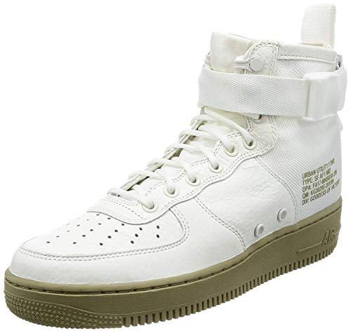 Nike Mens Sf Af1 Mid Hight Top Lace Up Basketball, Ivory/Neutral Olive, Size 9.0