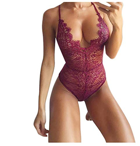 Kehen Women Teddy Lingerie One Piece Babydoll Mini Bodysuit Wine Red Small ()