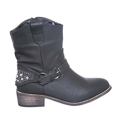 Leatherette Cowboy Bootie (5.5, blackpu) [Apparel]