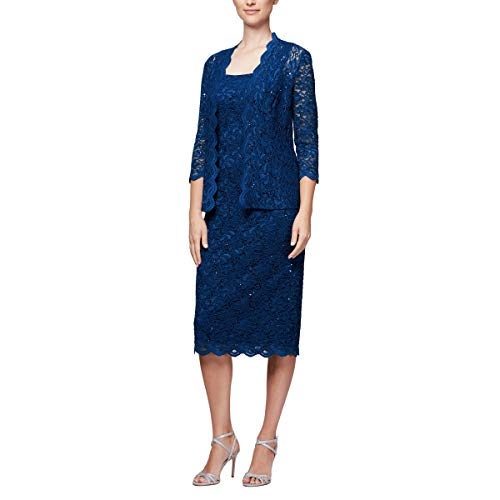 - ALF3H Women's Petite Tea Length Dress and Jacket (Regular Sizes), Cobalt, 12P