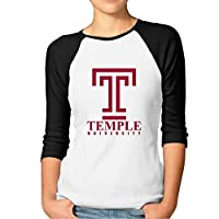 EVALY Women's Best Temple University 3/4-Sleeve Raglan Tshirt