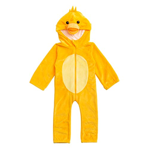 HollyHOME Baby Romper Cosplay Costume Cuddly Duck Toddler Cosplay Pajamas One Piece Jumpsuit Animal Cosplay Outfits Sleeping Wear for 0-6M