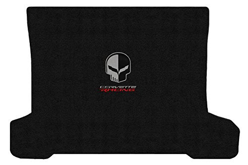 Corvette C7 Coupe Jet Black Rear Cargo Mat - Jake Skull & Racing Logos