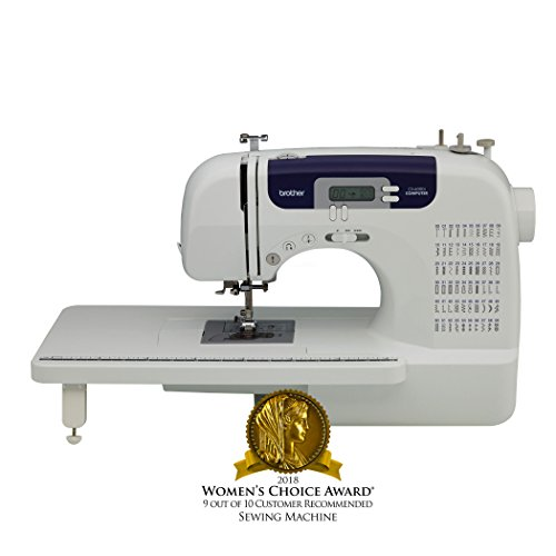 Brother Sewing and Quilting Machine, CS6000i, 60 Built-In Stitches, 7 styles of 1-Step Auto-Size Buttonholes, Wide Table, Hard Cover, LCD Display and Auto Needle Threader -