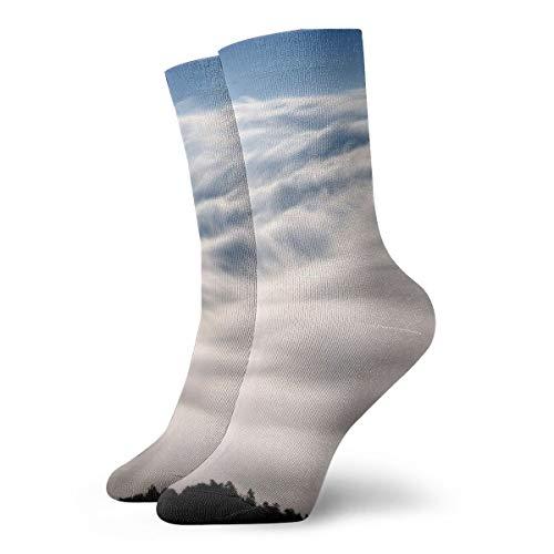 Unisex High Ankle Cushion Crew Socks Mountain Fog Print Casual Sport - Light Laurel Mountain