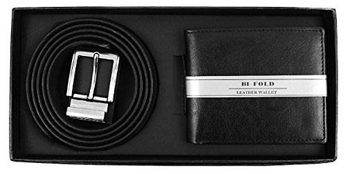 I&S Men's Premium Bi-Fold Leather Wallet & Belt Set - Belt 28