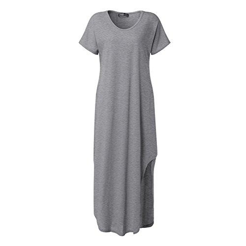 Celmia Des Femmes De Robes Occasionnel Côté Fente V Cou Court Manchon Maxi Solide Gris Longue Robe