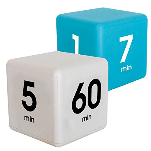 The Miracle Cube Timer Kitchen Combo. 2 Piece Set, 1,3,5 and 7 Minutes, 5,15,30 and 60 Minutes, Blue and White
