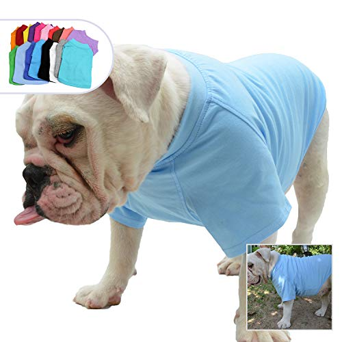 Lovelonglong Bulldog Clothes Dog Clothing Blank T-Shirt Tee Shirts for French Bulldog English Bulldog American Pit Bull Pugs 100% Cotton Skin Care Light-Blue B-L