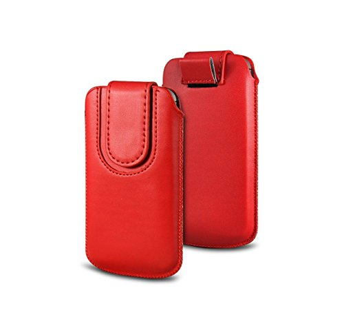 DEET® iPhone 5S 5C Rosso Custodia. DEET® iPhone 5S e iPhone 5C Rosso Chiusura Magnetica in pelle PU Pull Tab Custodia protettiva