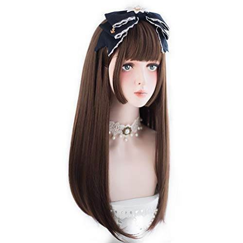 aiyaya Lolita Cosplay Wig with Bangs - Straight Synthetic Wig For Women Cosplay Costume, Natural Hair Lolita Wig with Wig Cap (Brown (long wig)) (Cosplay Ideas For Girls With Brown Hair)