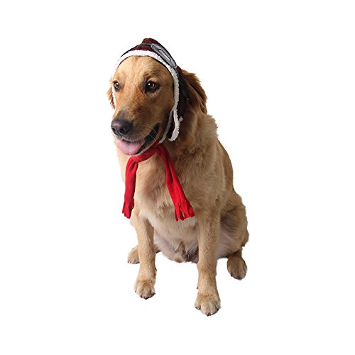 Pet Supplies Dog Hat Red Scarf Pilots Warm Hat (one size) by ABLAZE ZAI (Image #3)