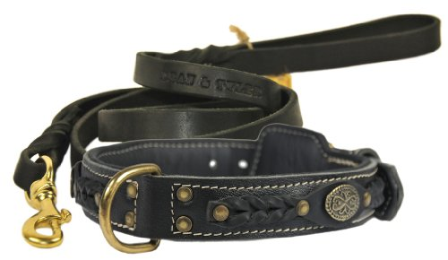 """Dean and Tyler Bundle – One """"Dean's Legend"""" Collar, 28-Inch by 1-1/2-Inch With One Matching """"Love To Walk"""" Leash, 6 FT Solid Brass Snap Hook – Black"""