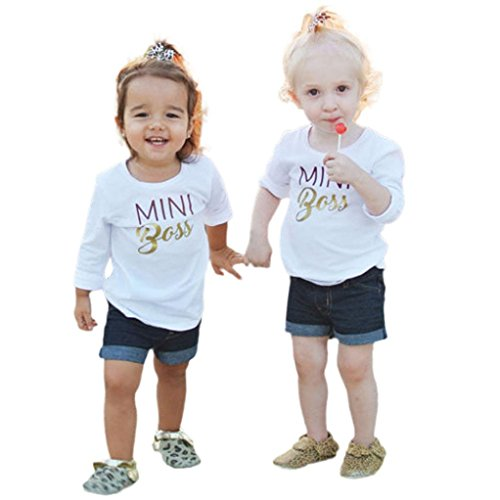 Omiky® Mom & Me Kleinkind Säugling Baby Mädchen Langarm Bluse Tops Familie Outfit Kleidung Weiß