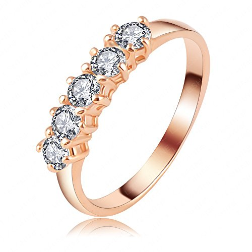LuckyWeng New Exquisite Fashion Jewelry Rose Gold Austrian Crystal Five Diamond Zircon Ring