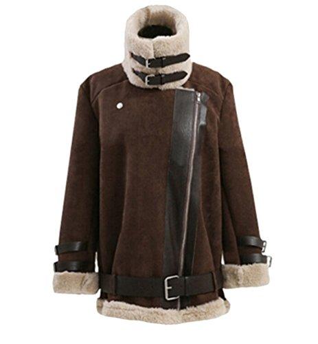 Lana Solapa Marron Mujeres Motocicleta Binhee De Invierno Oscuro Ladies Coats Sweater Cashmere Sweater IawFFnPY