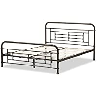 Baxton Studio Cornelie Stippled Metal Platform Bed, Queen, Black
