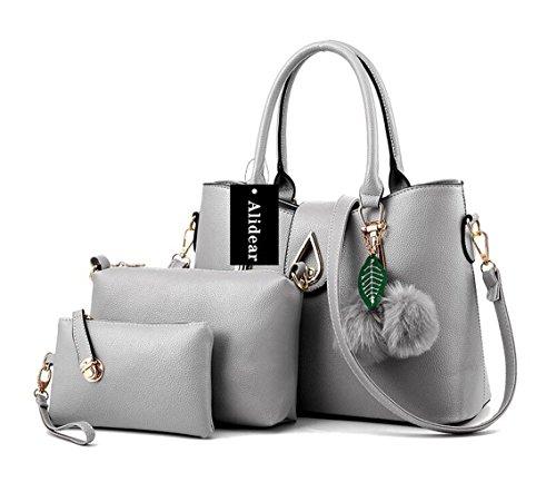 Function Carteras bolsas Bag Pu Bag Light Tote Alidear Crossbody mano juntas Mujeres de Mutil Bag bandolera Gris 3 Bolsos Moda SWPzBqY