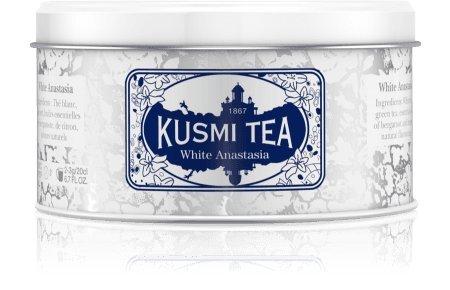 Kusmi Tea White Anastasia White Tea - Bergamot, Orange Blossom, and Lemon Infusion Essential Oils of Bergamot Perfect for Tea Lovers (3.2 Tin 35 - Tea Anastasia