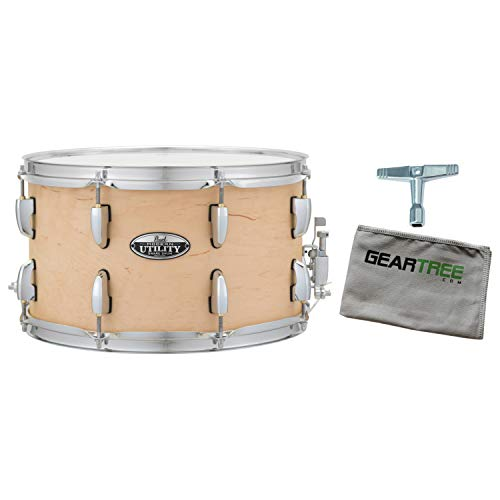 Pearl MUS1270M224 Modern Utility 12X7 Maple Snare Drum, Satin Natural w/Geartre