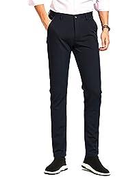 Men's Stretch Dress Pants Skinny Suit Pants Tapered Formal Pants