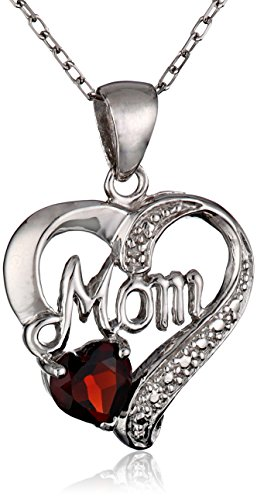 Sterling Silver Mom HeartPendant Necklace with Diamond Accents