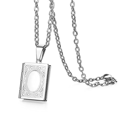 Cupimatch Book Shaped Photo Locket Pendant Necklace Charm Chain Fashion Jewelry 22