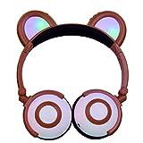 YRD Tech Kids Wireless Headset-Kids Headphones with Cat Ear LED On Ear Foldable Headset for Kids Earphone (Coffe )