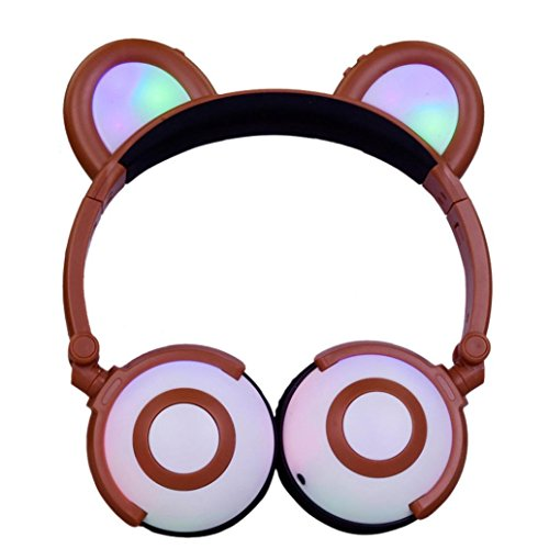 YRD Tech Kids Wireless Headset-Kids Headphones with Cat Ear LED On Ear Foldable Headset for Kids Earphone (Coffe ) by YRD TECH