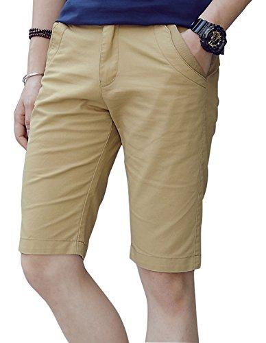 XTAPAN Men's Slim Fit Flat Front Shorts Casual Stretch Chino Shorts Khaki 33