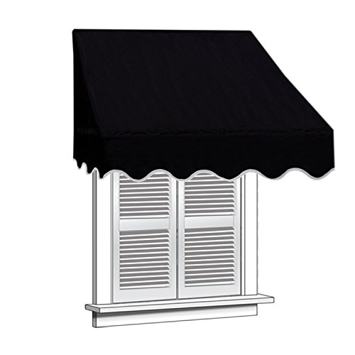 ALEKO 4x2 Black Window Awning Door Canopy 4-Foot Decorator Awning (Canopy Window Awning)