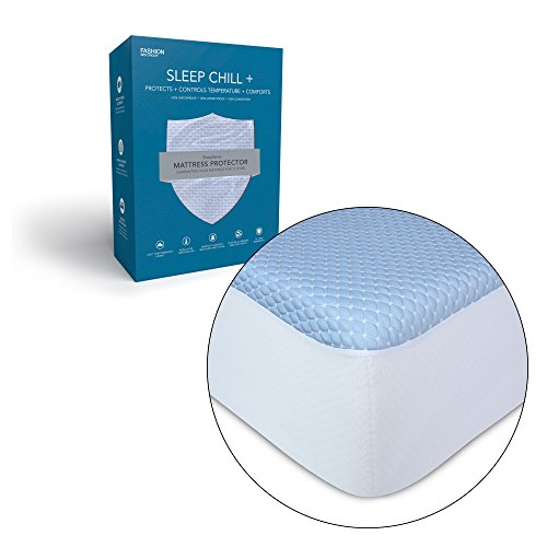 Leggett & Platt Sleep Chill + Crystal Gel Mattress Protector with Cooling Fibers and Blue 3-D Fabric, Queen