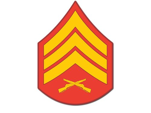 American Vinyl USMC Rank SERGEANT Stripes Chevron Shaped Sticker (marine corps ssi logo) ()