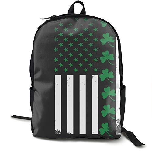 - Irish American Flag Shamrock Backpck, Large Capacity Shoulder Bag Travel and Sport Backpack Rucksack, College School Bookbag Casual Daypack Climbing Shoulder Bag Laptop Backpack